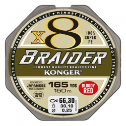 PLECIONKA KONGER BRAIDER X8 BLOODY RED 0,12/150